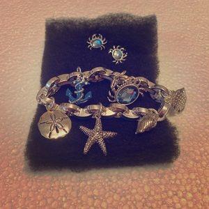 Silver Beach Themed Charm Bracelet & Crab Earrings